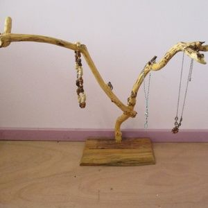 Natural Wood Jewelry Tree